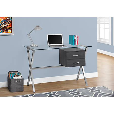 Monarch Specialties Glass Computer Desk With 2 Drawers, Gray/Chrome