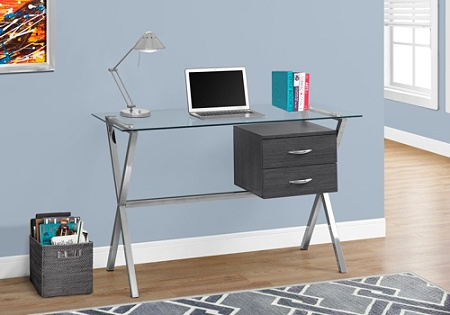 separation shoes 843ed f4b33 Monarch Specialties Glass Computer Desk With 2 Drawers, Gray/Chrome Item #  875813