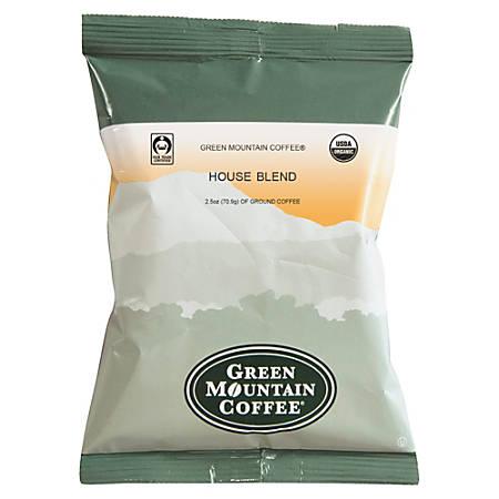 Green Mountain Coffee® Organic House Blend, 2.5 Oz, Carton Of 50 Bags