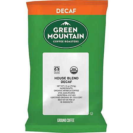 Green Mountain Coffee Roasters Fair Trade Organic House Blend Decaf Coffee - Decaffeinated - House Blend - Light - 2.5 oz - 50 CoffeeBag - 50 / Carton