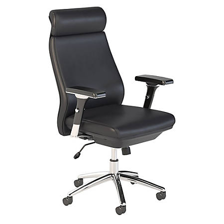 Bush Business Furniture Metropolis High Back Leather Office Chair, Black, Premium Installation