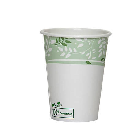 Dixie® PLA Paper Hot Cup, 12 Oz, White/Green, 50 Cups Per Sleeve, 20 Sleeves Per Case