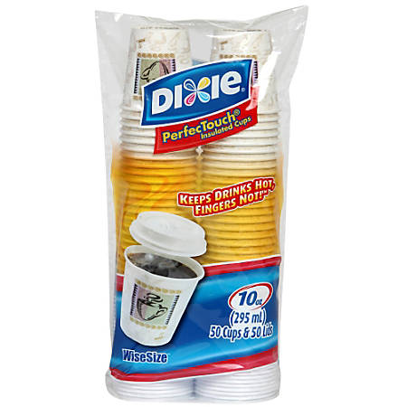 Dixie® PerfecTouch® Grab N Go Cup And Lid Combo Pack, 10 Oz, White/Multicolor, Pack Of 300