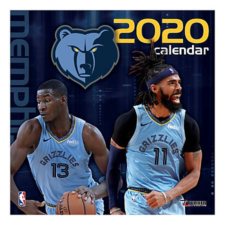 """Turner Licensing Monthly Wall Calendar, 12"""" x 12"""", Memphis Grizzlies, 2020"""