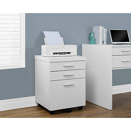 """Monarch Specialties 19""""D Vertical Filing Cabinet, 3 Drawers, White"""