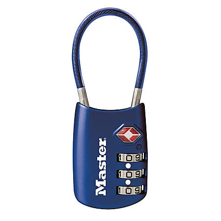 "Master Lock® Combination Cable Lock, 1 1/8"", Blue"