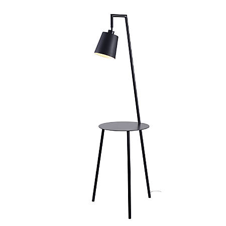 """Kenroy Home Obsidian Floor Lamp With Tray, 60-1/4""""H, Black Shade/Black Base"""