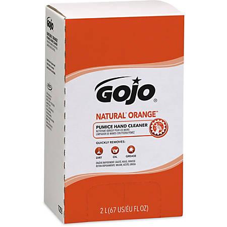 Gojo® Natural Orange Pumice Hand Cleaner Refill - Orange Citrus Scent - 67.6 fl oz (2 L) - Dirt Remover, Grease Remover, Soilage Remover - Hand - Gray - 4 / Carton