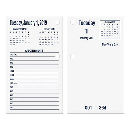"SKILCRAFT® DayMax System Daily Calendar Refill, 3-1/2"" x 6"", White, January To December 2019, (AbilityOne 7510015453732)"