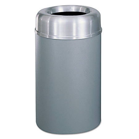 Rubbermaid® Commercial Crowne Collection™ Round Aluminum/Steel Open-Top Receptacle, 30 Gallons, Gray/Silver