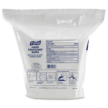 Purell® Hand Sanitizing Wipes, Unscented, 1200 Count, 2 Packs