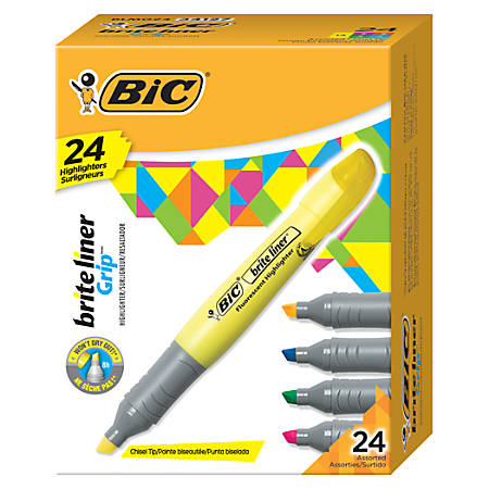 BIC® Brite Liner® Highlighters, Chisel Point, Yellow, Box Of 24