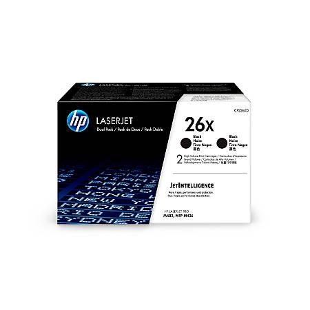 HP 26X (CF226XD) High yield Black Original LaserJet Toner Cartridges, Pack of 2