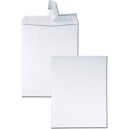 "Quality Park Redi-Strip Catalog Envelopes With Redi-Strip Closure, #15-1/2, 12"" x 15-1/2"", White, Box Of 100 Envelopes"