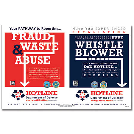 """ComplyRight Department Of Defense Fraud And Whistleblower Hotline Poster, English, 17"""" x 11"""""""