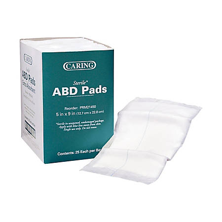 "Medline Abdominal Pads, Sterile, 5"" x 9"", White, Box Of 25"
