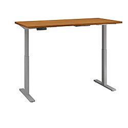 "Bush Business Furniture Move 60 Series 72""W x 24""D Height Adjustable Standing Desk, Natural Cherry/Cool Gray Metallic, Premium Installation"