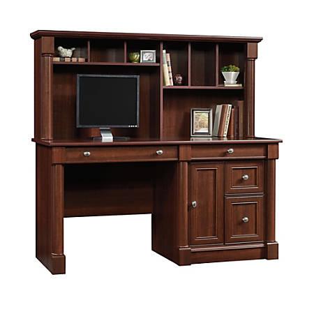 Sauder® Palladia Computer Desk With Hutch, Select Cherry