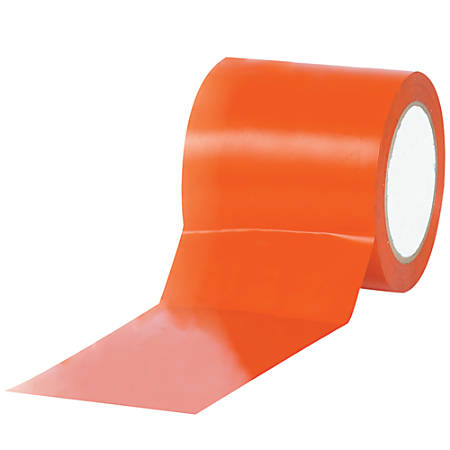 """BOX Packaging Solid Vinyl Safety Tape, 3"""" Core, 4"""" x 36 Yd., Orange, Case Of 12"""