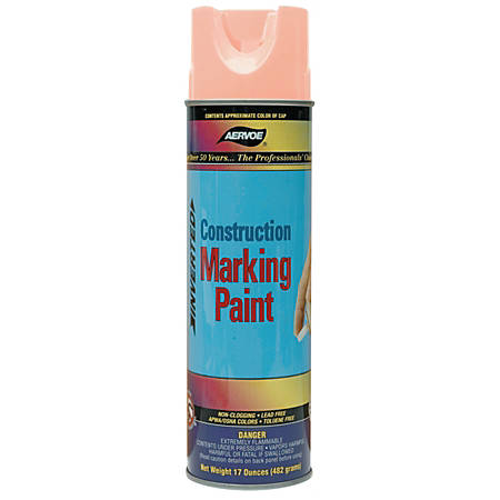Aervoe Construction Marking Paints, 20 Oz Aerosol Can, Fluorescent Orange, Pack Of 12 Cans