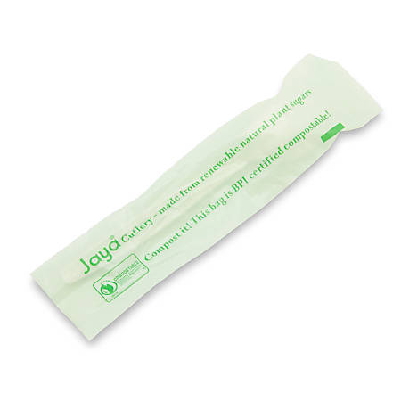 """STALK MARKET Compostable Individually Wrapped Spoons, 6-1/2"""", White, Pack Of 750 Spoons"""
