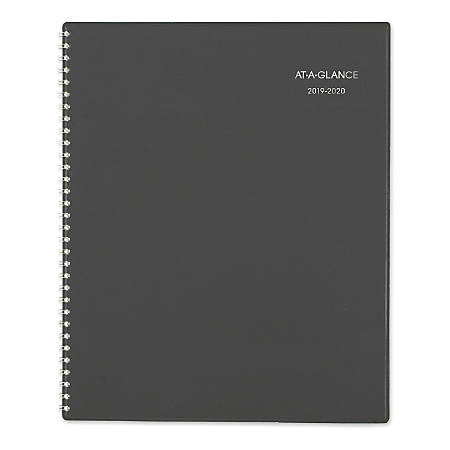 "AT-A-GLANCE® DayMinder® Academic Planner, Monthly, 8-1/2"" x 11"", Charcoal, July 2019 to June 2020"