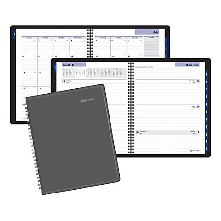 """AT-A-GLANCE® DayMinder® Academic Weekly/Monthly Planner, 8-1/2"""" x 11"""", Charcoal, July 2019 to June 2020"""