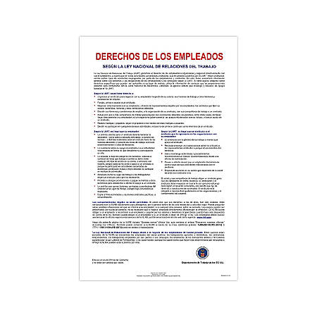 """ComplyRight Federal Contractor Posters, Spanish, National Labor Relations Act, 11"""" x 17"""","""