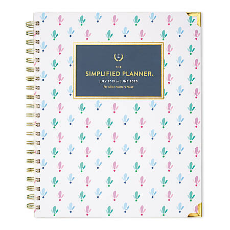 """AT-A-GLANCE® Simplified by Emily Ley Academic Weekly/Monthly Hardcover Planner, 11"""" x 8-3/8"""", Colorful Buds, July 2019 To June 2020"""