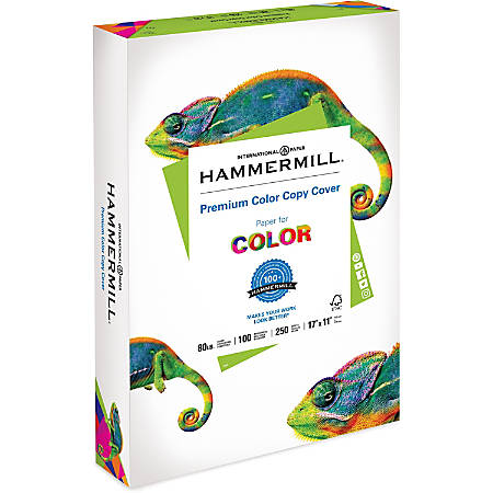"""Hammermill® Color Copy Digital Cover Printing Paper, Super Smooth, Ledger Size (11"""" x 17""""), 100 (U.S.) Brightness, 80 Lb Cover, White, Ream Of 250 Sheets"""