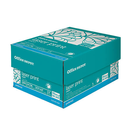 "Office Depot® Laser Print Paper, Letter Size (8 1/2"" x 11""), 24 Lb, 30% Recycled, 500 Sheets Per Ream, Case Of 3 Reams"