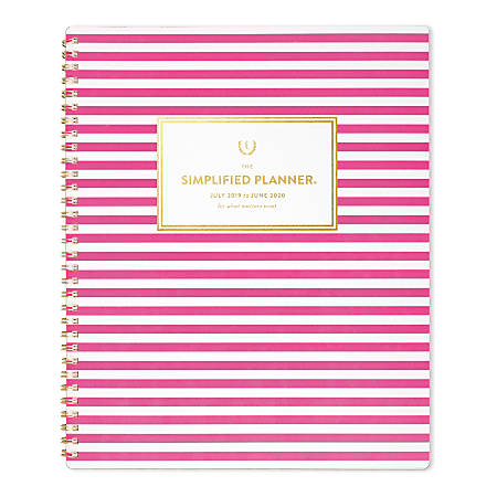 """AT-A-GLANCE® Simplified by Emily Ley Academic Monthly Planner, 11"""" x 8-3/8"""", Pink Stripe, July 2019 To June 2020"""