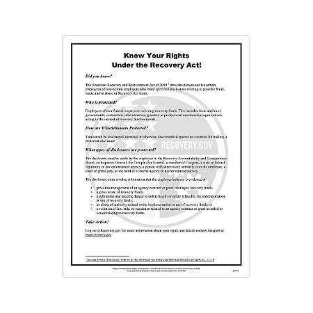 """ComplyRight Federal Contractor Posters, English, ARRA, 8 1/2"""" x 14"""""""