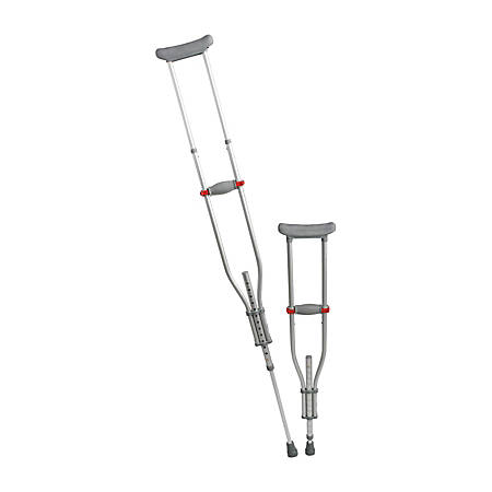 """Medline Quick-Fit Adjustable Crutches, 4'7"""" To 6'7"""", Silver"""