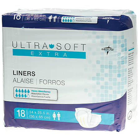 "Ultra-Soft Plus Incontinence Liners, 14"" x 25 1/2"", Blue, 18 Per Bag, Case Of 4"
