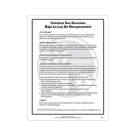 """ComplyRight Federal Contractor Posters, Spanish, ARRA, 8 1/2"""" x 14"""""""