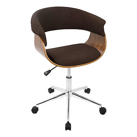 LumiSource Vintage Mod Mid-Century Modern Mid-Back Chair, Espresso/Walnut/Chrome