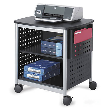 "Safco® Scoot™ Deskside Printer Stand, 26 1/2""H x 26 1/2""W x 20 1/2""D, Black/Silver"