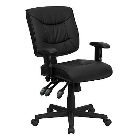 Flash Furniture Leather Low-Back Multifunction Ergonomic Swivel Task Chair With Adjustable Arms, Black