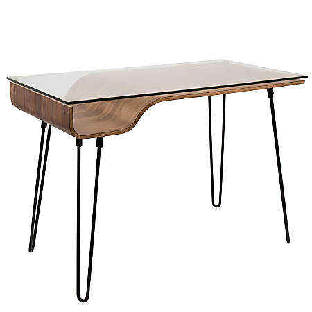 Lumisource Avery Mid-Century Modern Desk, Walnut/Black Item # 8773679