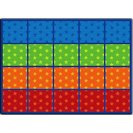 "Flagship Carpets Cushy Tushy Stars Seating Rows Carpet, Rectangle, 6' x 8' 4"", Multicolor"