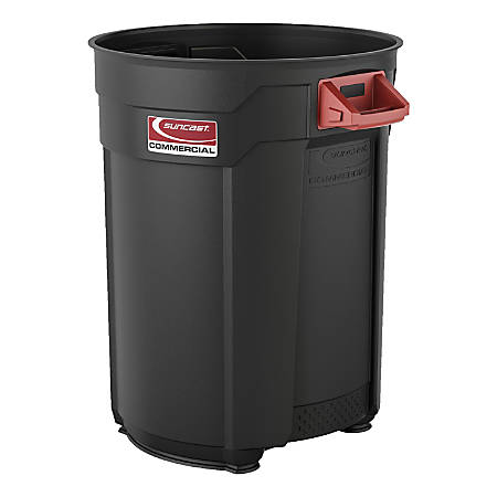 Suncast Commercial® Round HDPE Utility Trash Can, 55 Gallon, Gray