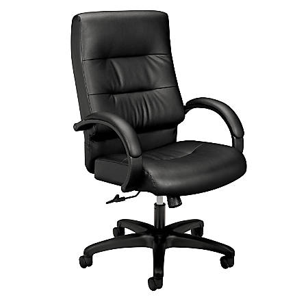 "basyx by HON® VL691 SofThread™ Plush-Leather High-Back Desk Chair, 47 1/4""H x 27""W x 28 3/4""D, Black"