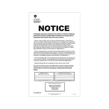 "ComplyRight Federal Contractor Posters, English, D.O.T. Federal Highway Construction, 8 1/2"" x 14"""