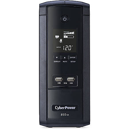 CyberPower 850VA BRG850AVRLCD UPS with 510W, AVR, LCD, and 2.1 USB Charging - Mini-tower - 8 Hour Recharge - 2 Minute Stand-by - 120 V AC Input - 120 V AC Output - 10 x NEMA 5-15R