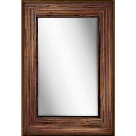 "PTM Images Framed Mirror, Bone Wood, 36""H x 24""W, Natural Wood"