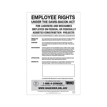 "ComplyRight Federal Contractor Posters, English, Davis-Bacon Act, 11"" x 17"""