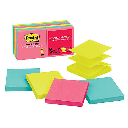 Post It Pop Up Notes 3 X 3 Cape Town Pack Of 12 Pads By Office Depot