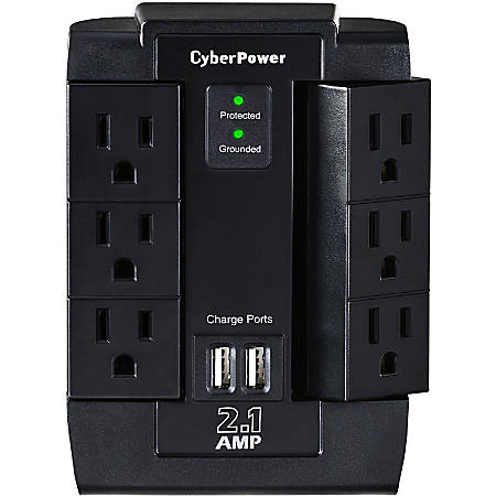 CyberPower CSP600WSU Professional 6 Swivel Outlets Surge with 1200J, 2-2.1A USB & Wall Tap - Plain Brown Boxes