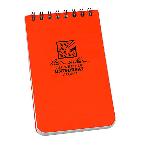 "Rite in the Rain All-Weather Spiral Notebooks, Top, 3"" x 5"", 100 Pages (50 Sheets), Orange, Pack Of 12 Notebooks"